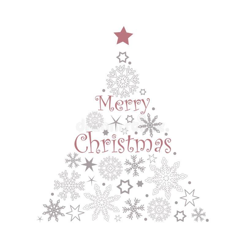 Copos de nieve y estrellas del árbol de navidad en colores rojos y grises en el fondo blanco libre illustration