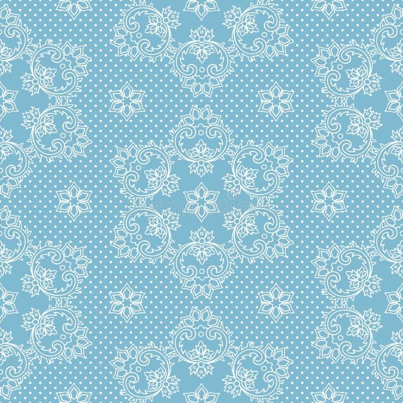 Copos de nieve y lunares inconsútiles del modelo en vector azul del fondo Tela del cordón de la Navidad o ejemplo del diseño del  ilustración del vector
