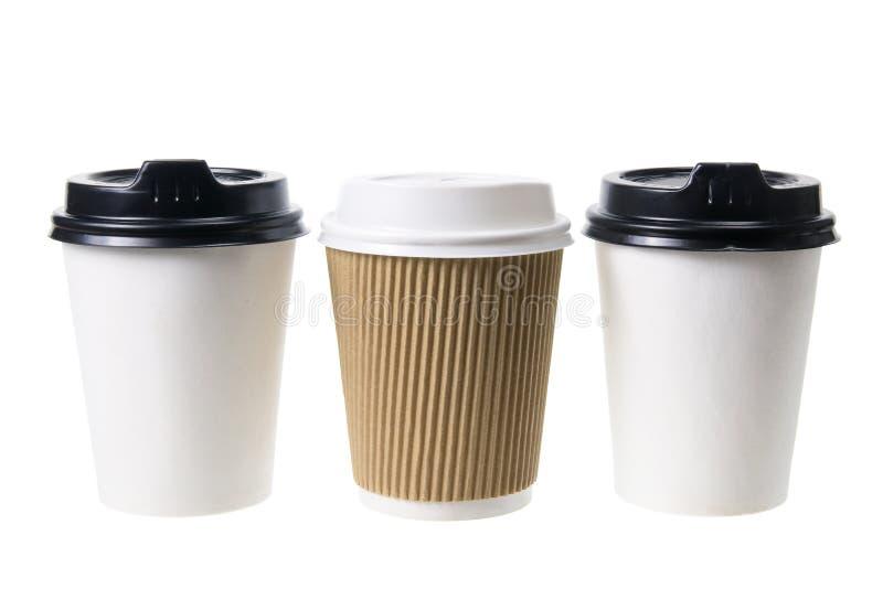 Copos do café afastado fotos de stock