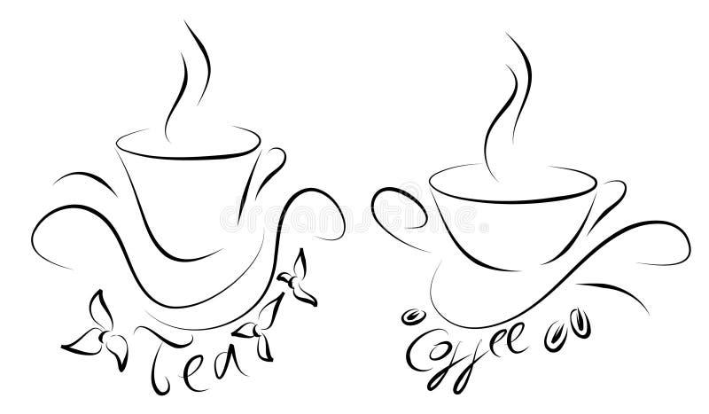 Copos do chá e de café imagens de stock