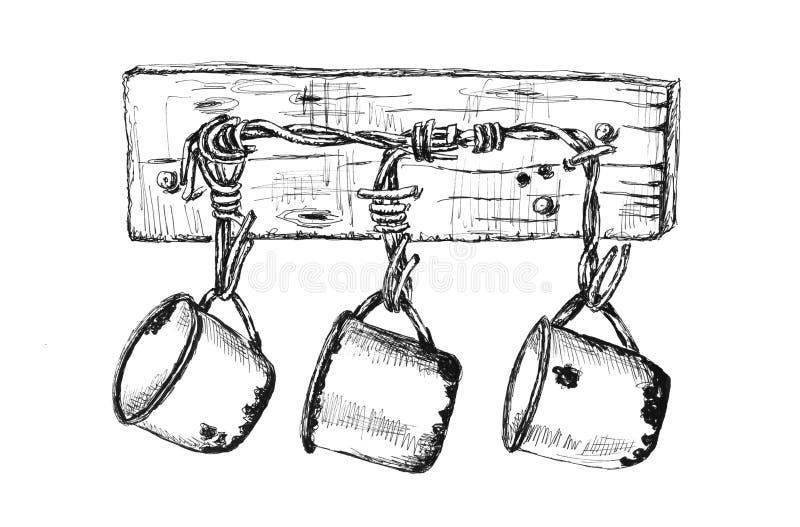 Copos do ferro de ?ld que penduram em uma imagem tirada da prancha mão de madeira ilustração stock