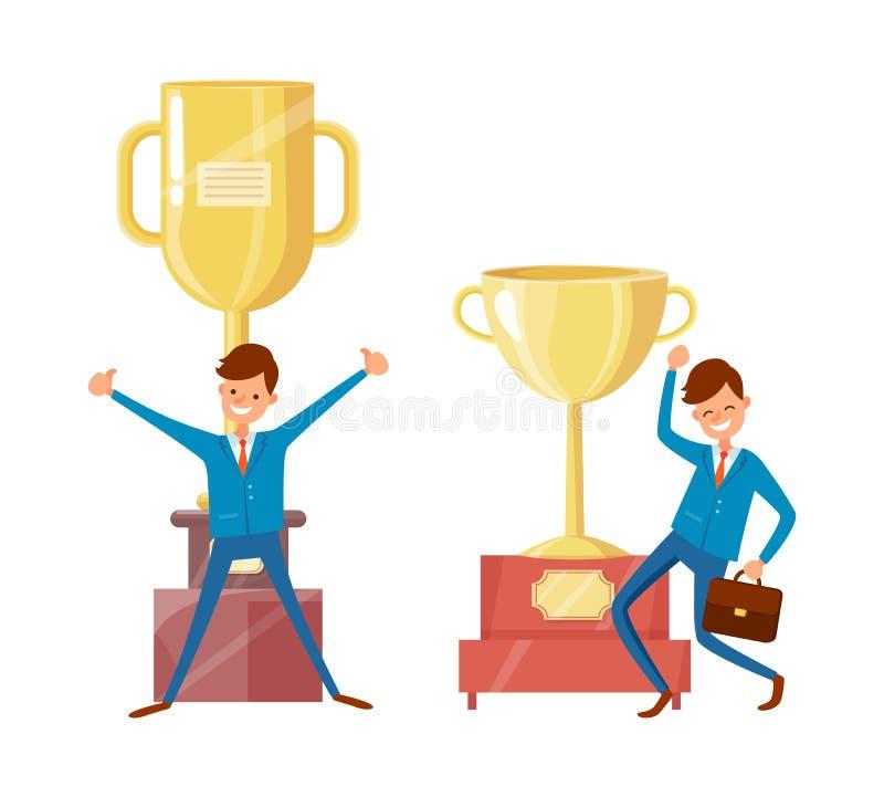 Copos do homem de negócios e do troféu do sucesso, concessões douradas ilustração do vetor