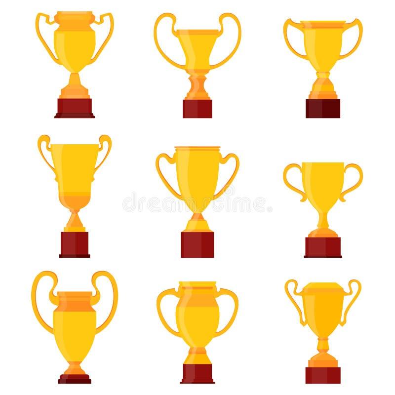 Copos do ouro dos vencedores Grupo de troféu dourado diferente da concessão do campeão das bacias Sinal do copo do vetor ilustração stock