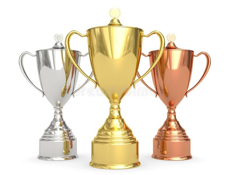 Copos dourados, de prata e de bronze do troféu no branco ilustração stock