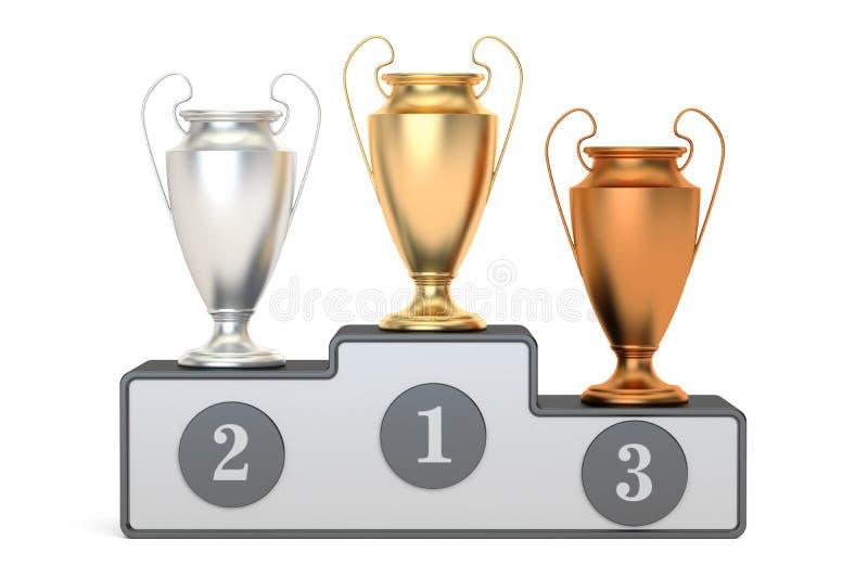 Copos dourados, de prata e de bronze do troféu no suporte, rendição 3D ilustração royalty free