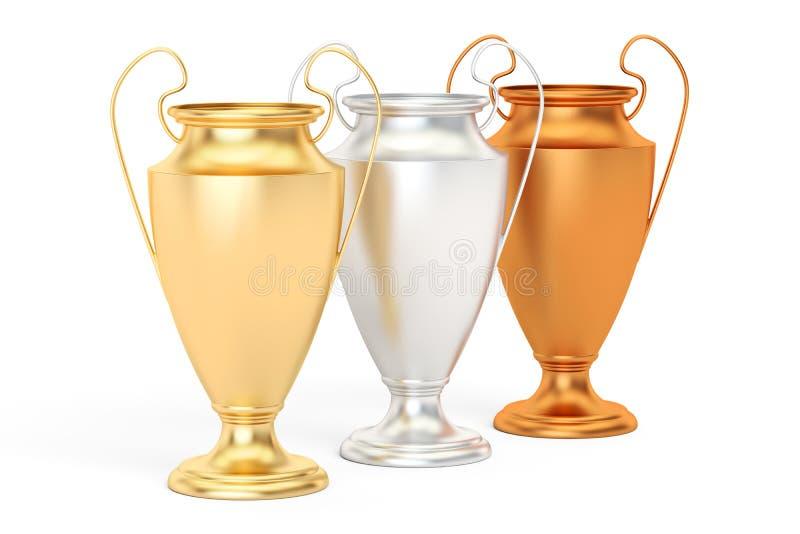 Copos dourados, de prata e de bronze do troféu, rendição 3D ilustração stock