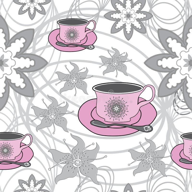Copos e flores de chá cor-de-rosa no tea party abstrato do Fundo-jardim Amostra de folha sem emenda do teste padrão da repetição ilustração do vetor