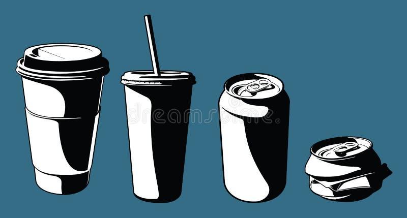Copos e latas ilustração stock