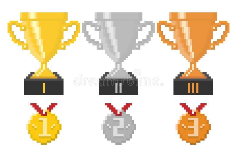 Copos e medalhas do troféu do pixel ilustração royalty free