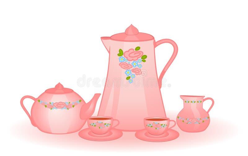 Copos e tea-pot ilustração royalty free