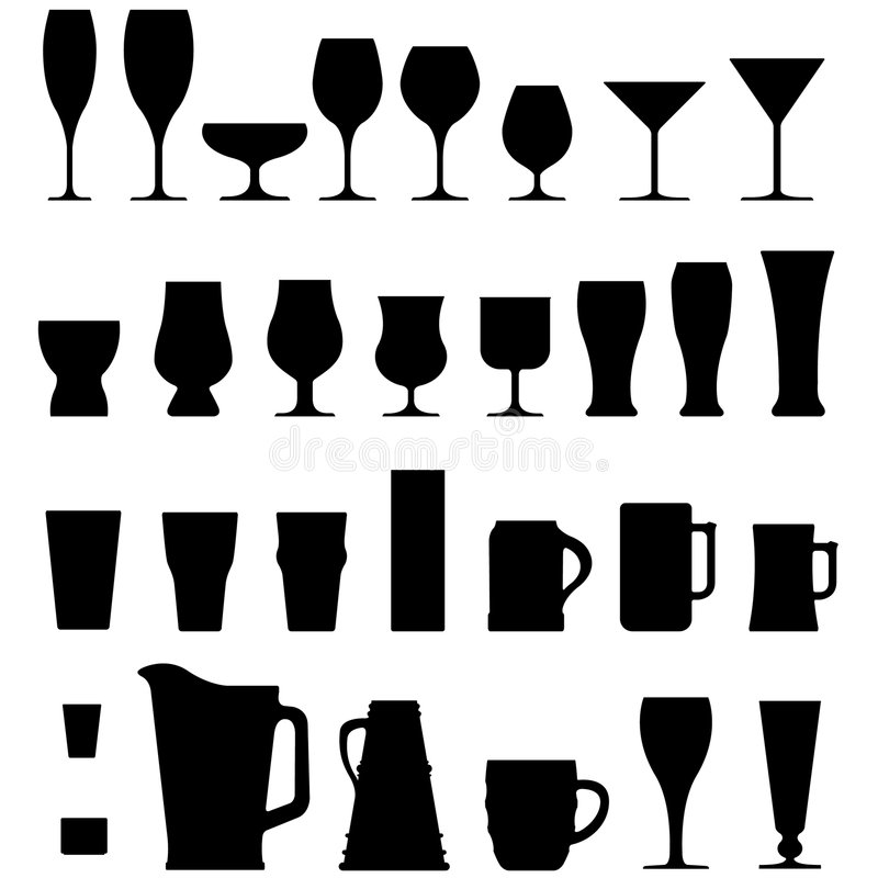 Copos e vidros do álcool do vetor ilustração royalty free