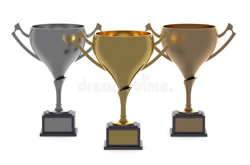Copos ou troféus ouro, prata, bronze ilustração do vetor
