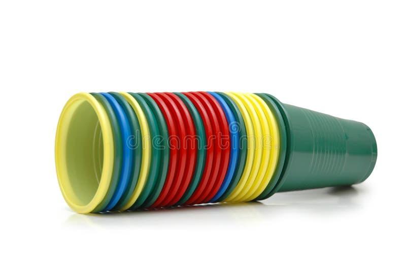 Copos plásticos empilhados fotografia de stock