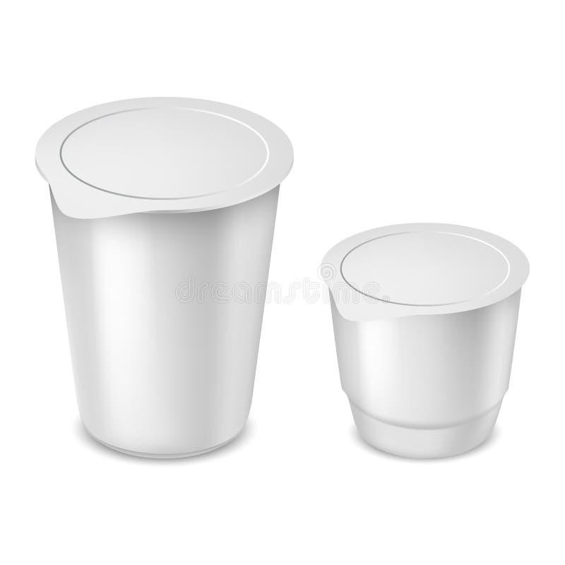 Copos plásticos redondos do iogurte com vetor da tampa da folha ilustração stock