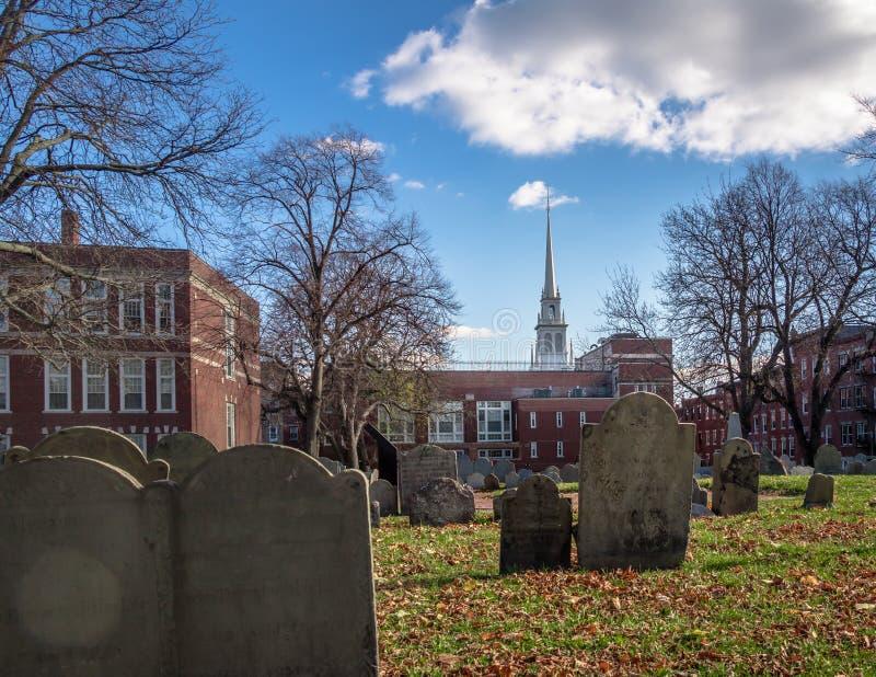 Copp ` s小山坟场公墓和老北部教会-波士顿,马萨诸塞,美国 免版税库存照片
