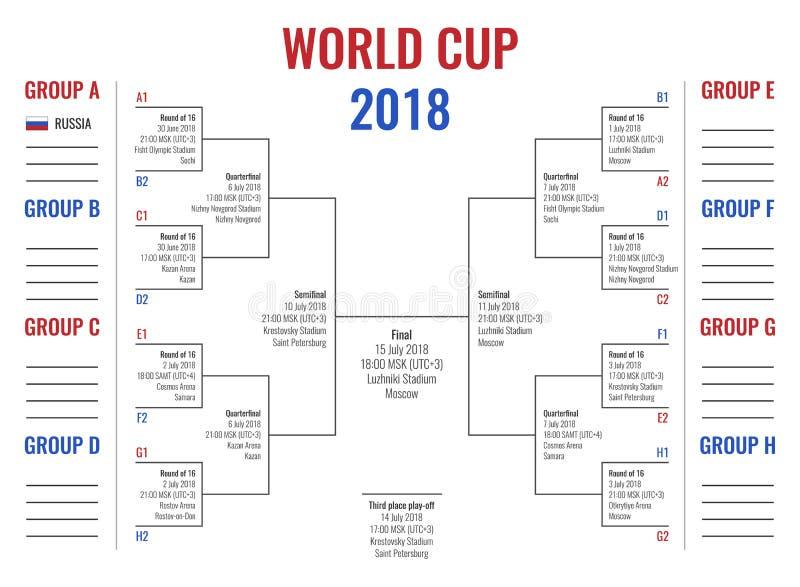 Coppa del Mondo 2018 in Russia, fase del gruppo e strada al finale, schema di torneo con programma del gioco royalty illustrazione gratis