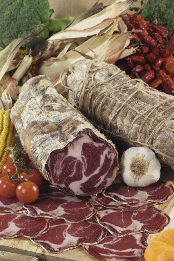 coppa di italienare parma salami arkivbild