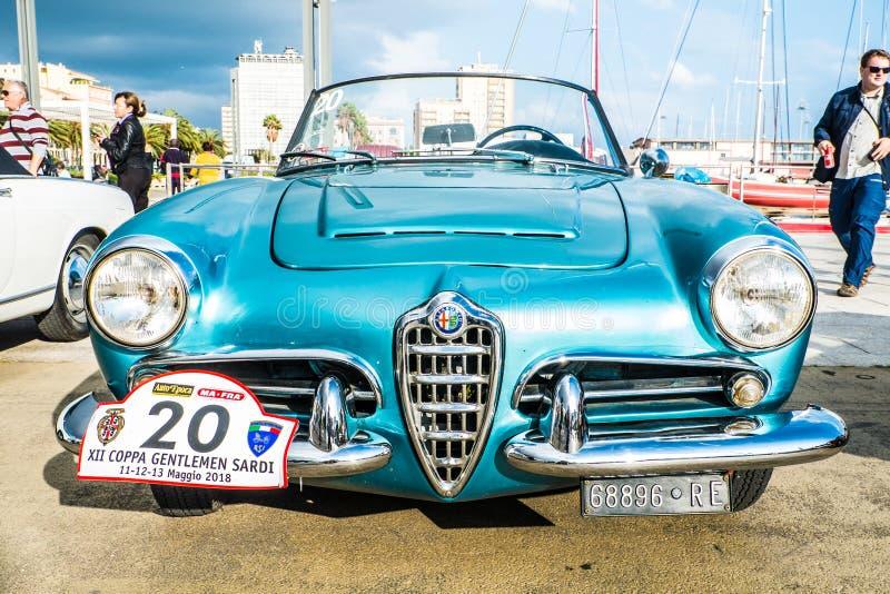 Coppa gentlemen sardi, cars exibition, Alfa Romeo Giulia Spider. 05-13-2018, Sardinia, Cagliari harbor, Coppa gentlemen sardi, cars exibition, Alfa Romeo Giulia stock image