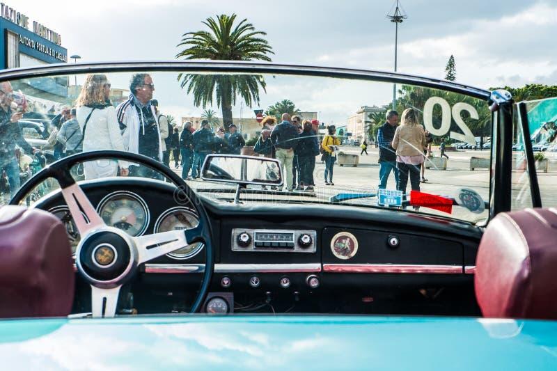 Coppa gentlemen sardi, cars exibition, Alfa Romeo Giulia Spider. 05-13-2018, Sardinia, Cagliari harbor, Coppa gentlemen sardi, cars exibition, Alfa Romeo Giulia royalty free stock photography