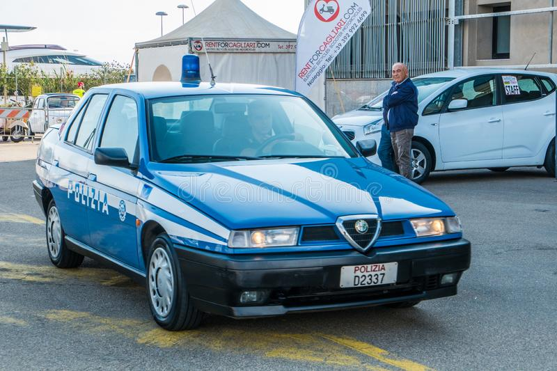 Coppa gentlemen sardi, cars exibition, Alfa Romeo 155 Polizia. 05-13-2018, Sardinia, Cagliari harbor, Coppa gentlemen sardi, cars exibition, Alfa Romeo 155 royalty free stock image