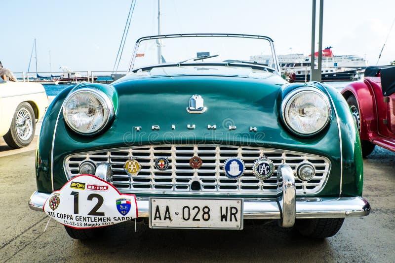 Coppa gentlemen sardi, cars exibition, Triumph TR3. 05-13-2018, Sardinia, Cagliari harbor, Coppa gentlemen sardi, cars exibition, Triumph TR3 royalty free stock photos