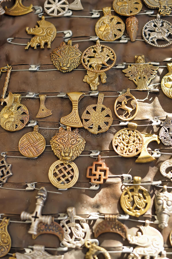 Copper amulets stock images