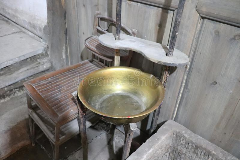 Ancient Chinese copper basin stock photography