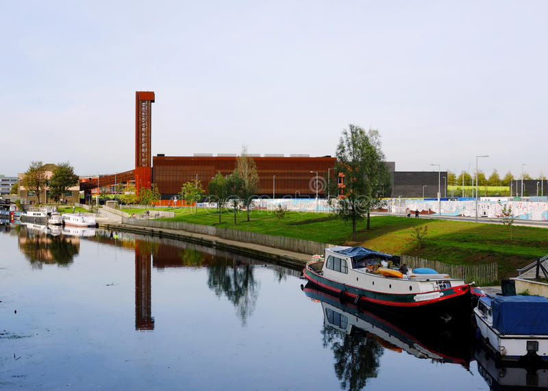 Copper Box & River Lea, Olympic Park, Stratford stock image