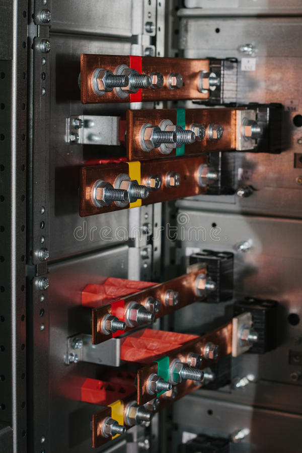 Copper busbar. Uninterrupted power. Electrical power. low-voltage compartment stock photos