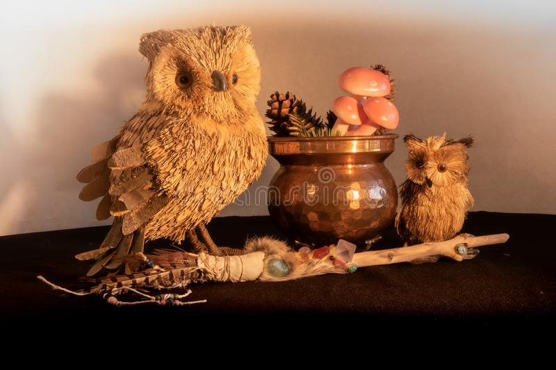 Copper cauldron with mushrooms and pine cones, a magic wand with quartz and amethyst crystals and an owl mother and child made fro royalty free stock images