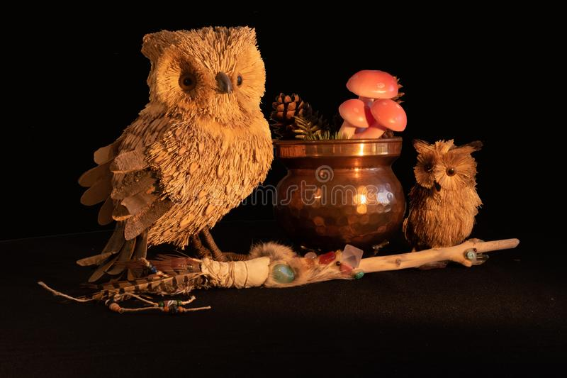 Copper cauldron with mushrooms and pine cones, a magic wand with quartz and amethyst crystals and an owl mother and child made fro stock images