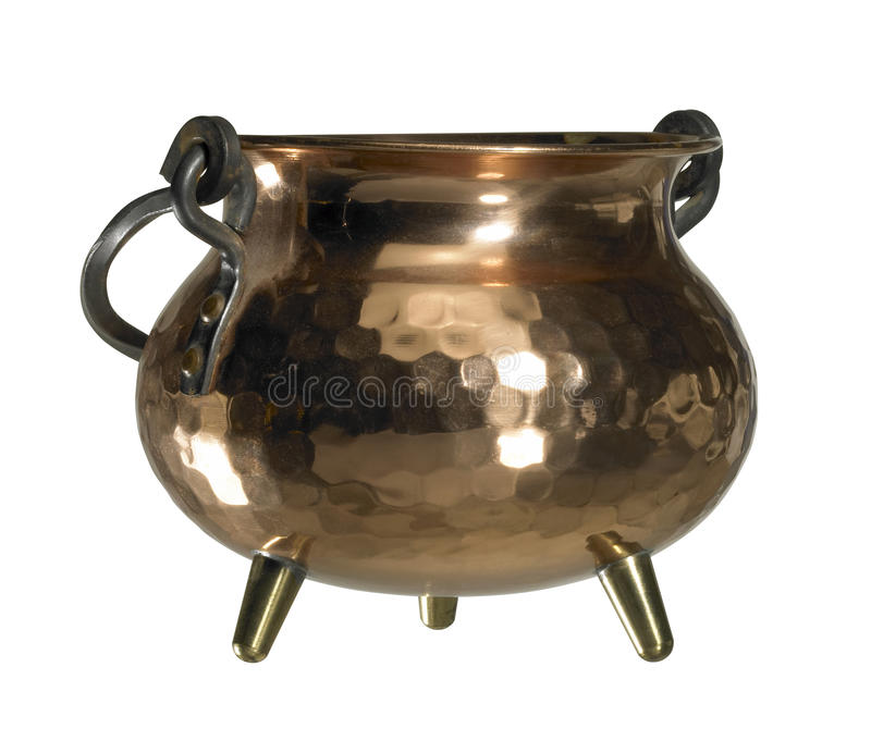 Copper cauldron. Studio photography of a cauldron made of copper isolated on white, with clipping path stock photography