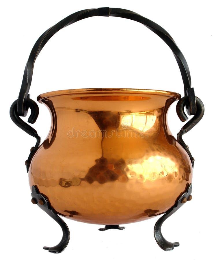 Copper cauldron stock image