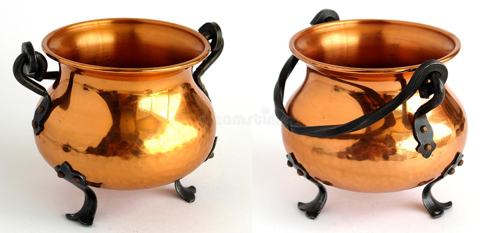 Copper cauldrons royalty free stock images