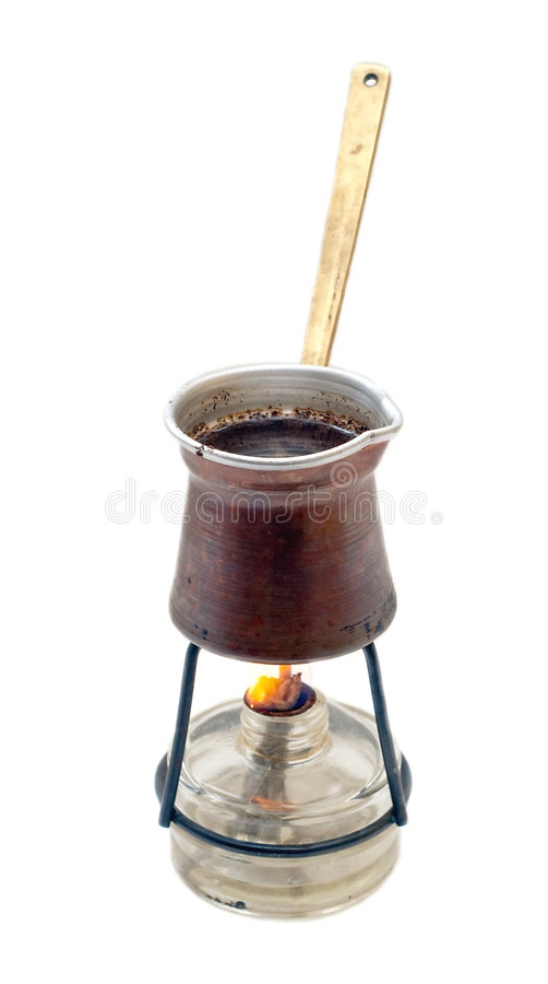 Download Copper Cezve On Spirit-lamp Stock Photo - Image: 5361266
