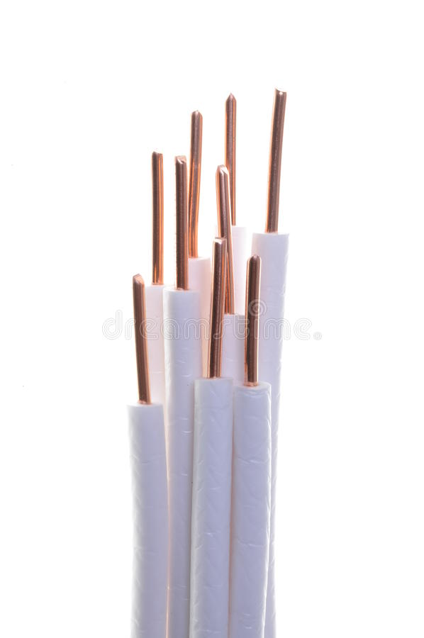 Copper coaxial cable. On white background royalty free stock photos