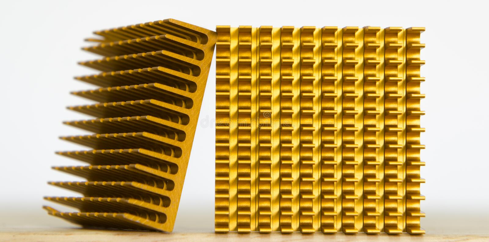Copper Cooler Heat Sink Closeup, Background Textured Pattern Ab royalty free stock photos