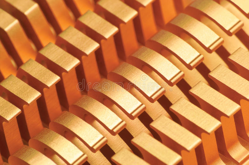 Copper CPU or GPU Cooler Heat Sink Macro Closeup, Large Detailed Horizontal Background Textured Pattern Abstract, Yellow, Gold royalty free stock image