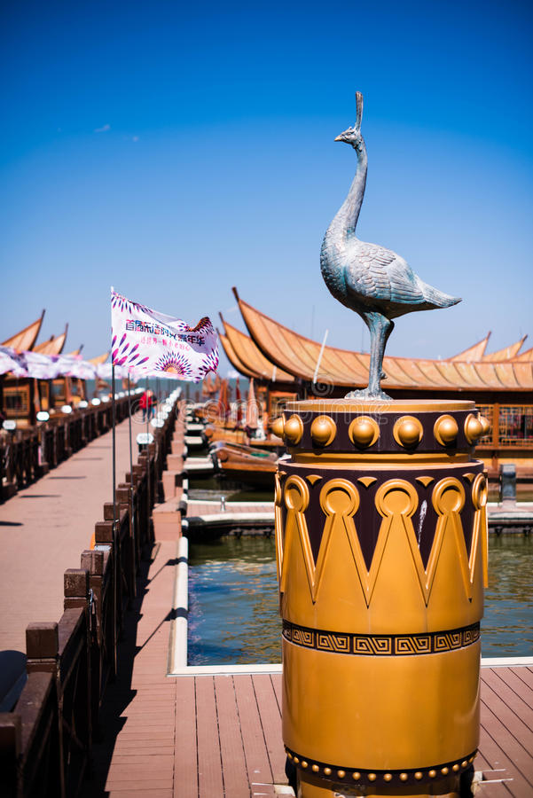 The Copper crane in kunming,China stock photos