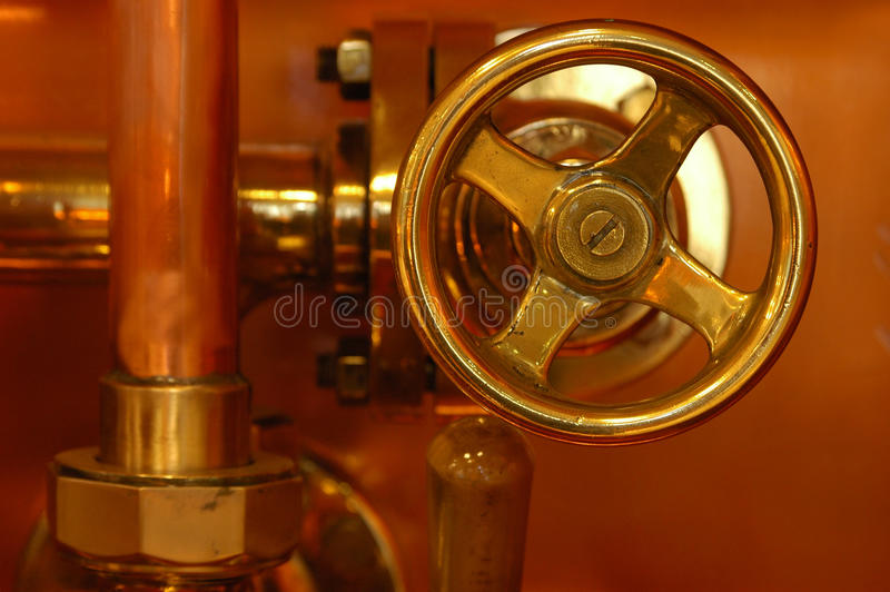 Copper deatail of brewery stock image