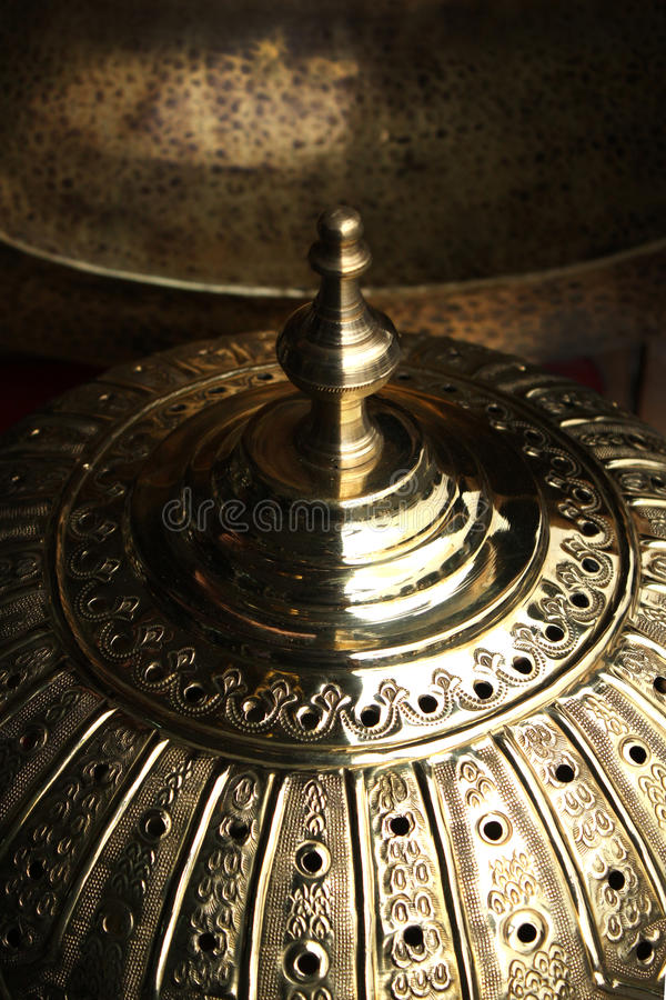 Copper dome, products of Moroccan handicraft stock image