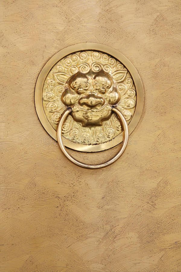 Copper door and lion handle