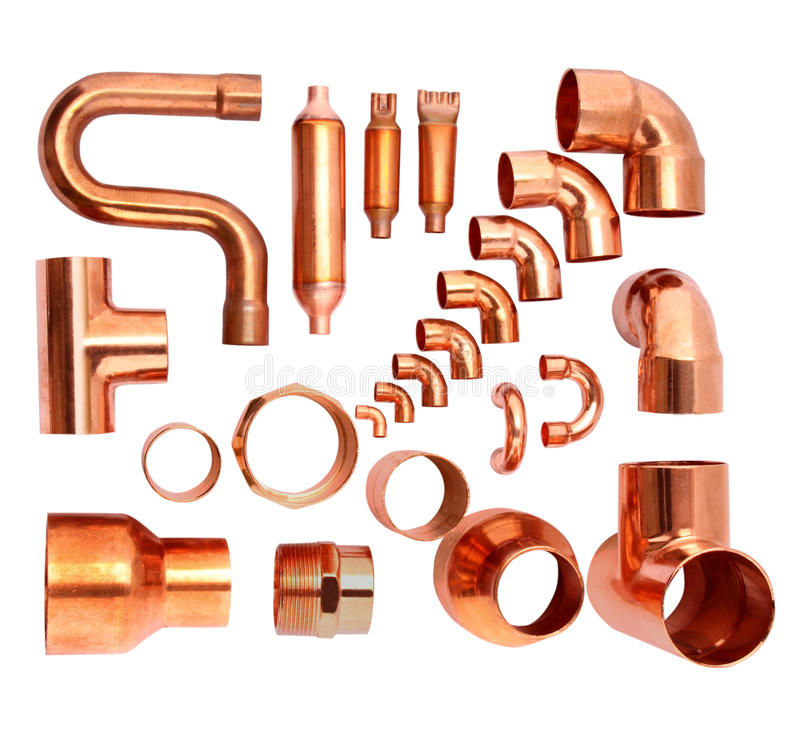 Copper elbows. Group of copper elbows used in construction and Air condition Equipment stock photos