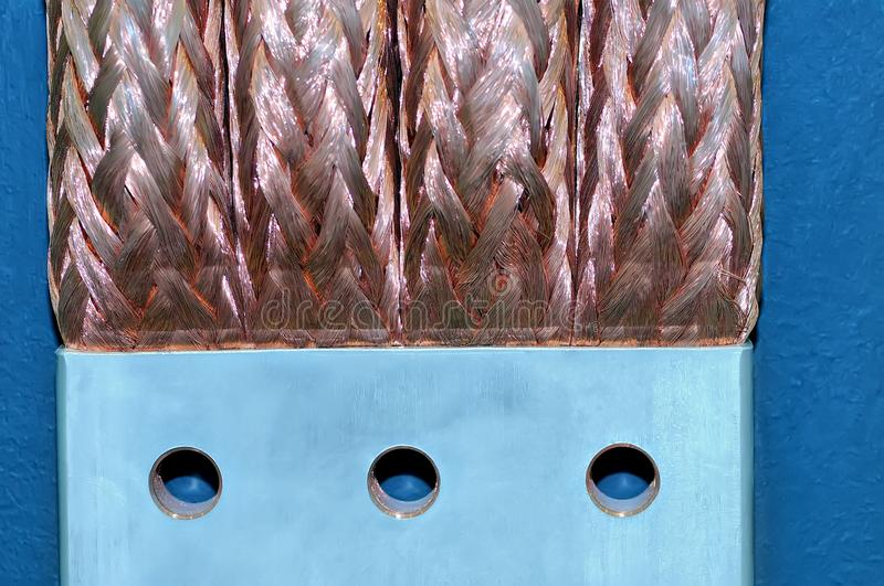 Copper electric bus busbar close-up royalty free stock image