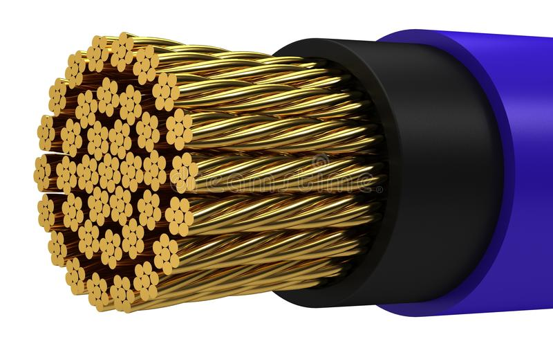 Copper electrical cable stock illustration