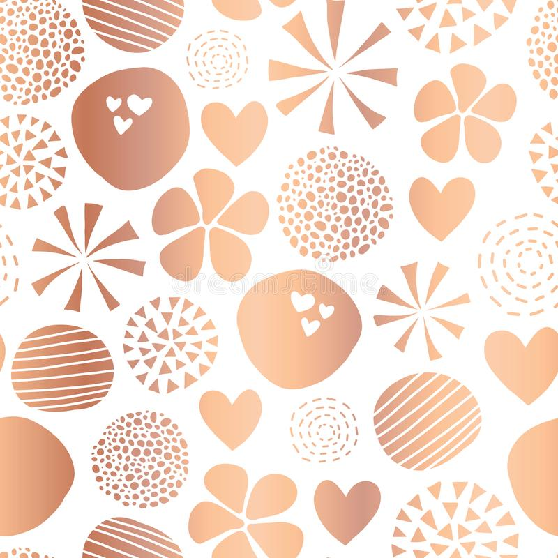 Copper foil abstract seamless vector pattern with flowers, dots, hearts on white background. Cute rose gold metallic foil feminine. Design for girl, women royalty free illustration