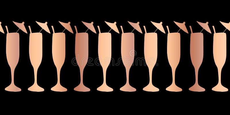 Copper foil champagne flute seamless vector pattern border. Rose gold cocktail glasses on black background. For restaurant, menu,. Party celebration, wedding stock illustration