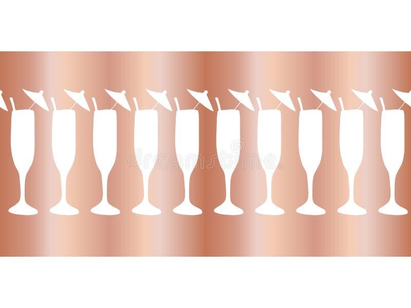 Copper foil champagne flutes seamless vector pattern border. Cocktail glasses on rose gold background. For restaurant, bar menu,. Party, celebration, wedding stock illustration