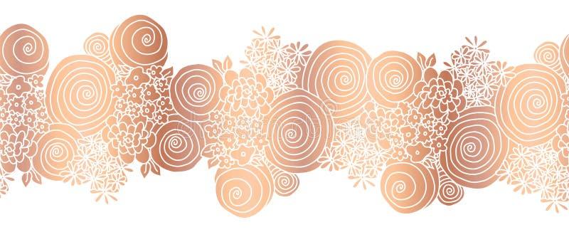 Copper foil flower bouquet seamless vector border. Rose gold floral border. Metallic rose golden floral design for vector illustration