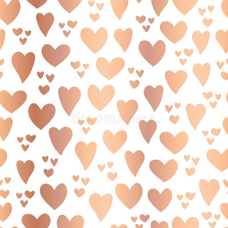 Copper foil Hearts on white background seamless stock illustration